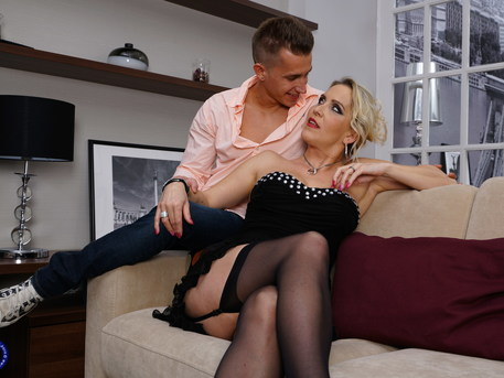 MILF Julia Pink sucking cock and eating the ass from her toy boy