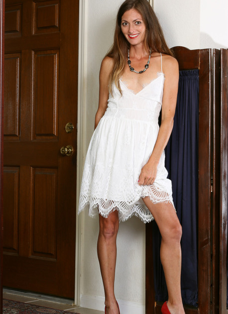 Veronica Johnson Lacy White Dress